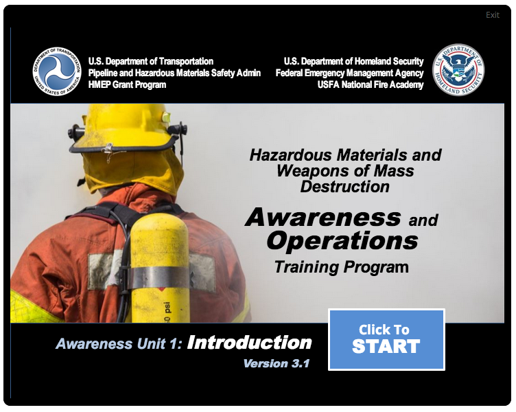 Start page for a HAZMAT/WMD Awareness course